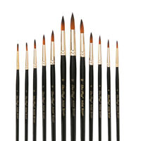12Pcs/Set Nylon Watercolor Paint Brush Pointed Head Flat Brushes For Painting HO
