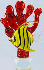HAND-BLOWN GLASS WINE BOTTLE STOPPER-ANGEL FISH ON RED CORAL-YURANA GLASS BS044