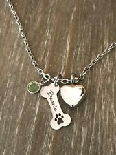 Urn Necklace for Dog cremation ashes Personalized Name Bone memorial Jewelry