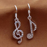 Personality Trendy Music Notes Clear Crystal Silver Dangle Party Earrings EBN