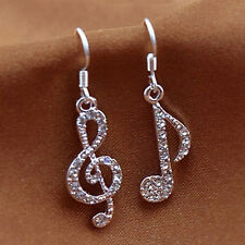 Personality Trendy Music Notes Clear Crystal Silver Dangle Party Earrings  EO