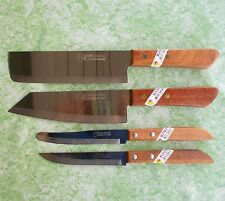 Thai Chef Knife Cook Knives Set 4 pcs KIWI Wood Handle Kitchen Blade Stainless