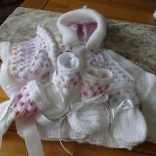 Hand Knitted Baby Girl's Hooded Jacket, Bonnet, Mitts and Bootees 3-6 months siz