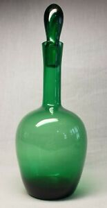 Vintage Italian Green Glass Genie Bottle Decanter Vase With Glass Stopper !!