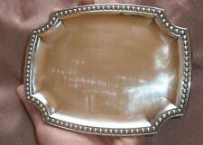 Plateau à cartes de visite en métal argenté - Modèle à frise de perles
