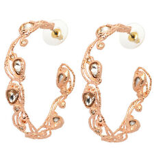 Plated & Crystal Hoop Earrings De Buman 18K Rose Gold