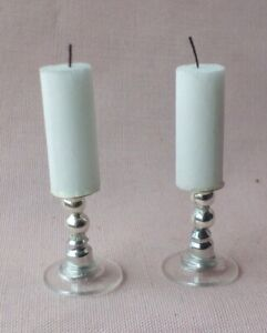 DOLLS HOUSE HANDMADE SILVER PLATED GLASS BOTTOM  CANDLES WITH WICK