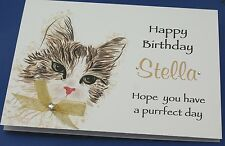LARGE Handmade Personalised  Birthday Card CUTE CAT 16th 21st 20th 30th any age