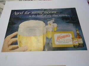 Vintage 1950s Hamm's Beer 2 Page Ad Flat Top Can Man Cave Print Ad 5G2
