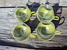 Vintage Pyrex Glasses 4 Roly Poly Drinkups Tumblers With Green Plastic Holders