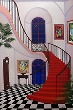 "FANCH LEDAN ""INTERIOR WITH RED STAIRCASE"" Hand Signed Serigraph on Canvas"