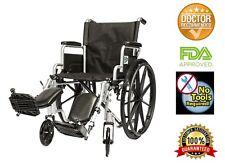 "20"" Lightweight Manual Wheelchair Folding Detachable Arms + Elevating Legrests"