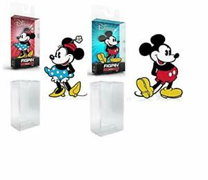 """Mickey Mouse & Minnie Mouse 6"""" Collector FigPin X32, and X33 Disney + Protector"""