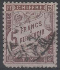 "FRANCE STAMP TIMBRE TAXE N° 27 "" TYPE DUVAL 5F MARRON "" OBLITERE A VOIR N382"