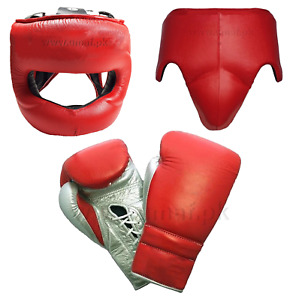 New Custom Made, Red & Silver, W1NN1NG Boxing Gloves, Head Gear, Groin Guard