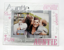 "Glass Mirror 3D Pink Glitter Words Auntie 6"" x 4"" Photo Picture Frame Gift Home"