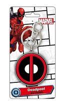 Marvel Comics Deadpool Logo Metal Colored Pewter Key Ring Keychain, NEW UNUSED