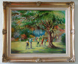 BOWLING IN COBER HILL - BEAUTIFUL IMPRESSIONIST OIL PAINTING ON BOARD.