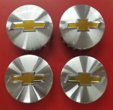 """SET of 4 CHEVY 3.25"""" 83mm BRUSHED ALUMINUM Center Caps YEARS: 2014-2017"""