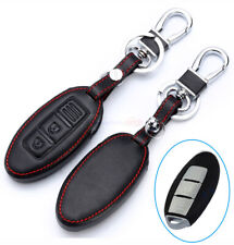 2 Button Black Remote Key Fob Bag Holder PU Leather Cover Case Fit Nissan Altima