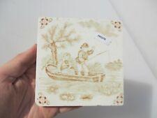 Antique Ceramic Tile Vintage French Village Boats River Cottage Nature Fishing