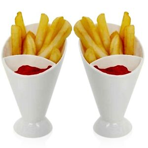 6 x Chip Fries & Ketchup Dipper Cones 2 Section Snack Sauce Holder Stand Food