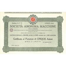 SOC. ANON. MACCHINE 5 AZIONI - FIRENZE 1923