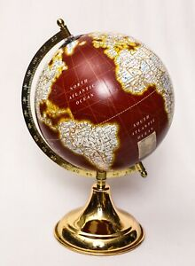 Wooden Antique World Globe Red National Geographic Decorative Home Office