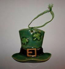 St. Patrick's Day Lucky Leprechaun Hat with Shamrocks Irish Christmas Ornament