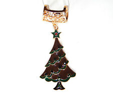 NWT WOMEN'S GOLD FILIGREE SCARF RING GREEN RED CHRISTMAS TREE PENDANT RHINESTONE
