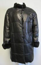 YVES SAINT LAURENT black leather jacket with fur cuff & collar sz Large