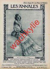 Les annales n°1994 du 11/09/1921 Mimi Pinson Paul de Kock Romantisme