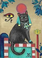 5x7  RYTA BLACK CAT PRINT OF PAINTING MINIATURE BASTET EGYPT CATS GODDESS ART HP