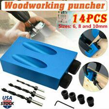 14pcs 15° Pocket Hole Screw Jig + Dowel Drill Set Carpenters Wood Joint Tool