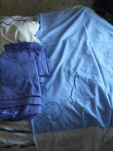 Duvet cover flat and fitted sheets pillowcase bundle blues