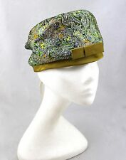 VINTAGE USA Union Multi Green Metallic Silver Lurex Tapestry Box Pillbox Hat