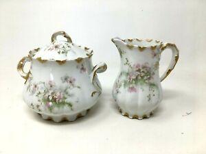 Antique Haviland Limoges Schleiger 146 Creamer Sugar Bowl Set Apple Blossoms