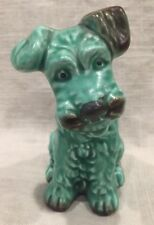 Vintage SYLVAC Green Porcelain Fox Terrier. Made in England