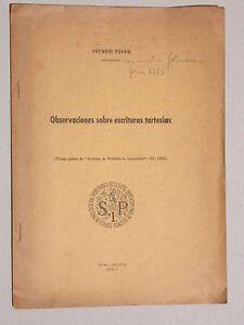 Observaciones sobre escrituras tartesias - Antonio Tovar - 1952 - Archéologie