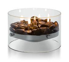 Philippi Design Fire Noble Cheminée de table / Verre inox & Déco pierres