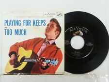 """ELVIS PRESLEY 45 RPM """"Too Much"""" & """"Playing for Keeps"""" w/ pic sleeve VG+ cond"""