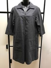 Margaret Howell S Wool Charcoal Gray Open Shirt Collar Minimalist Sweater Dress