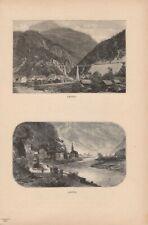Ansichten von Amsteg Silenen Kanton Uri DRUCK von 1895 Schweiz