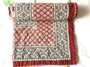 Indian Handmade Quilt Vintage Kantha Bedspread Throw Cotton Blanket Gudari Twin.