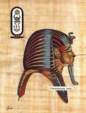 "Egyptian Papyrus Portrait King Tut Egypt Pharaoh 8X12"" + Hand-Painted"