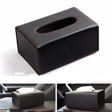 1Pcs New All Black Carbon Fiber Stripe In-Car Tissue Box Storage Box Home Holder