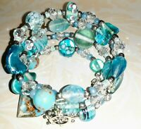 Memory Wire Bracelet with aqua blue Glass Beads  Charm on each end FREE SHIPPING