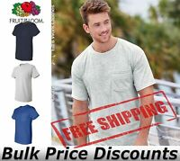 Fruit of the Loom Mens Short Sleeve HD Cotton T Shirt w/ Pocket 3930PR up to 3XL