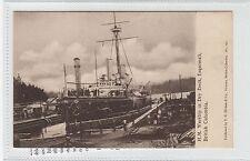 H.M. WARSHIP IN DRY DOCK, ESQUIMALT: British Columbia, Canada postcard (C28217)