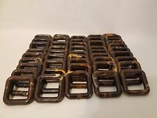 """Lot of 50 Square 2"""" Two Inch Brown Marble Plastic Marbella Macrame Craft Rings"""